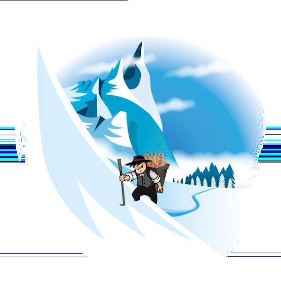 Un Crétin grimpant une montagne enneigée